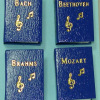 Handcrafted Gold Embossed Composers Music Book Set
