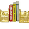 Gold Plated Dollhouse Shape Bookend Set with Books