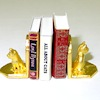Gold Plated Cat Kitten Bookends with Books