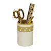 White Faux Leather Tooled Filled Pencil Holder