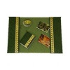 Green Faux Leather Tooled Desk Blotter Set