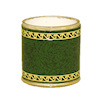 Green Faux Leather Tooled Wastebasket