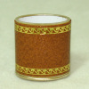 Tan Faux Leather Tooled Wastebasket