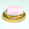 Golden Soap Dish with Pink Soap
