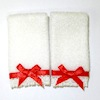 Pair of Christmas or Valentine Day Towels with Red Bows
