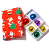 Box of Christmas Ornaments with Santa Claus Box