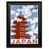 Miniature Framed Asian Japan Pagoda Picture