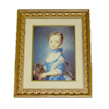 Gilded Frame Victorian Girl With Kitten Picture