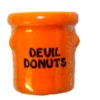 Handcrafted Ceramic Devil Donuts Halloween Crock