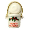 Christmas Holly Merry Berries Crock Bucket with Handle