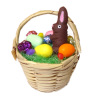 Easter Basket with Eggs and Chocolate Bunny Rabbit