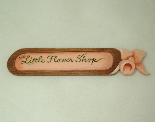 Lorraine Heller Handpainted Wood The Little Flower Shop Sign