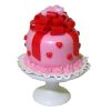 Lola Originals Pink Valentine Cake with Red Hearts and Bow