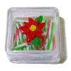 Lola Originals Poinsettia Christmas Striped Candy Stick Box