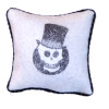 Handcrafted Halloween Skull Pillow with Piping