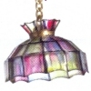Illuminated Scalloped Stained Glass Chandelier