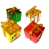 Four Wrapped Christmas Presents Red Gold Silver Green Foil