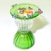 Handcrafted Green and Clear Glass Butterfly Feeder
