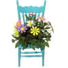 Handcrafted Teal Chair with Daisy Flowers
