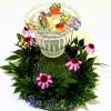 Handcrafted Glass Butterfly Feeder in Daisy Flower Garden