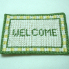 Hand Crafted Green & Yellow Needlepoint Welcome Mat