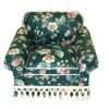Handcrafted Upholstered Green Floral Chintz Easy Chair w Fringe