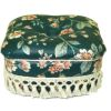 Handcrafted Upholstered Green Floral Chintz Ottoman with Fringe