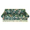 Handcrafted Upholstered Green Floral Chintz Couch with Fringe