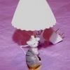 Working Gray Tiger Striped Kitten Lamp