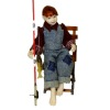 Artisan Crafted Porcelain Dollhouse Sitting Boy Fishing Doll