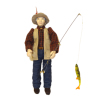 Artisan Crafted Porcelain Dollhouse Man Doll Lucky Fisherman