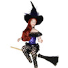 Artisan Crafted Dollhouse Doll Sexy Halloween Witch on Broom