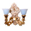 Double Light Blue Shade Victorian Wall Sconce