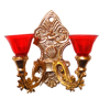 Double Red Shade Victorian Wall Sconce