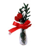 Red Roses in Glass Vase with Fern and Satin Bow