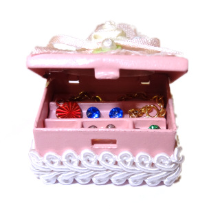 Open Filled Lace Trim Pink Jewelry Box