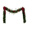 Christmas Fireplace Garland with Red Berries and Bows