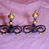 Gilded Black Iron Victorian Andirons