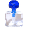 Clear Perfume Cologne or Potion Bottle Cobalt Blue Stopper