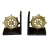 Nantasy Fantasy Golden Nautical Ship Wheel Bookends