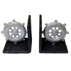 Nantasy Fantasy Silver Metal Nautical Ship Wheel Bookends