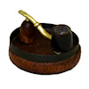 Nantasy Fantasy Handcrafted Ebony Pipe and Ashtray Set
