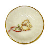 Gold Rim Porcelain Christmas Holly Horse Serving Bowl