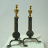 Black Wrought Iron Andirons with Brass Finial