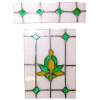 Green and Orange Stained Glass Window Insert