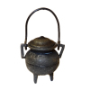 Antiqued Metal Bean Pot with Legs and Handle