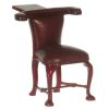 Mahogany and Faux Leather English Reverse Reading Library Chair