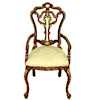 Hand Carved and Painted Brocade Upholstered Victorian Chair