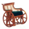 Victorian Style Carved Wood Wheelchair with Turning Wheels