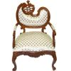 Ornate Carved and Upholstered Walnut Hinkley Arm Chair